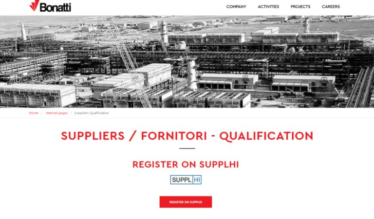 Bonatti Vendor Qualification on SupplHi