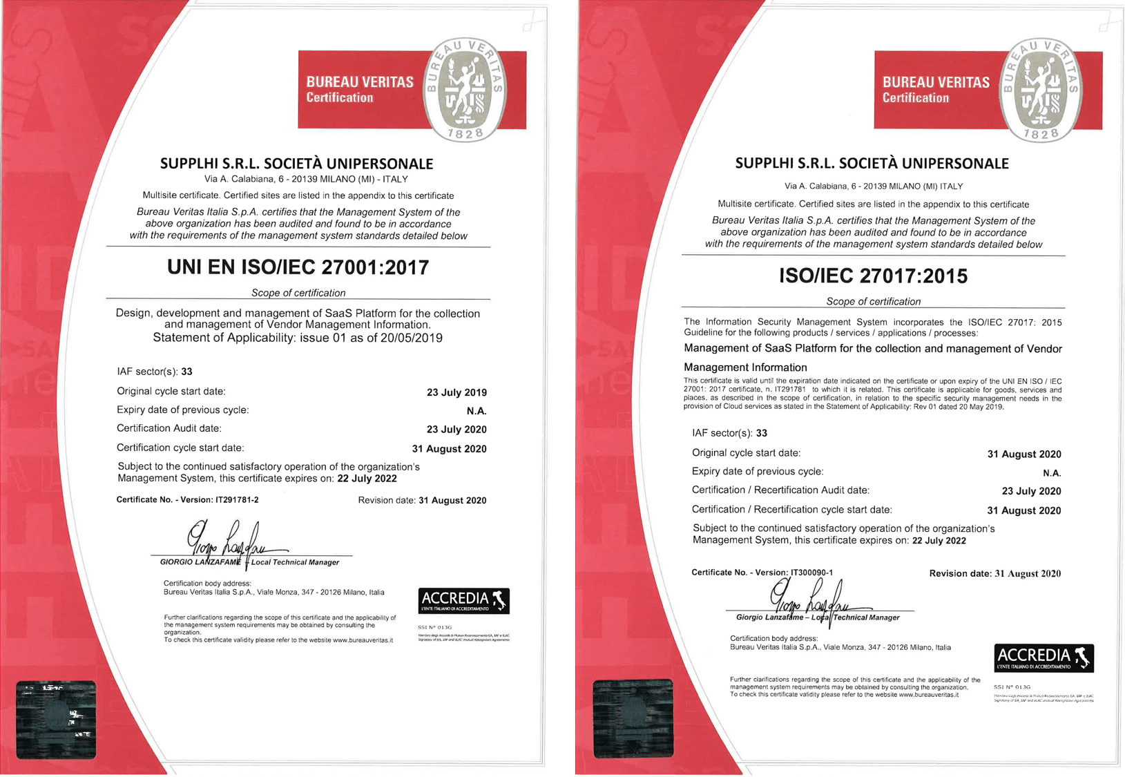 SupplHi ISO certificates