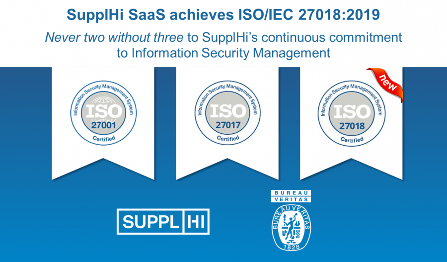 SupplHi achieves ISO/IEC 27018:2019, bringing the number of its ISO 27000-series certifications to three